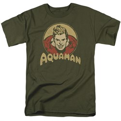 Image of Aquaman Shirt Aqua Circle Olive Green T-Shirt