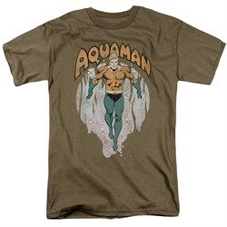 Image of Aquaman Shirt From The Depths Safari Green T-Shirt