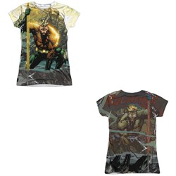 Image of Aquaman Shirt Good And Evil Sublimation Juniors Shirt Front/Back Print