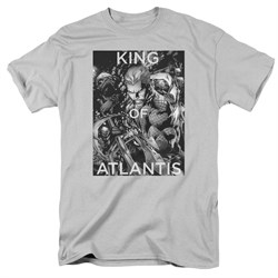 Image of Aquaman Shirt King Of Atlantis Silver T-Shirt