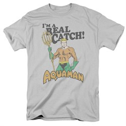 Image of Aquaman Shirt Real Catch Silver T-Shirt