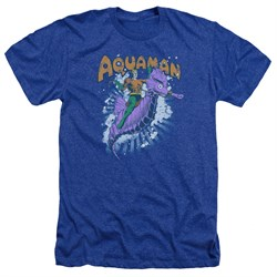Image of Aquaman Shirt Ride Free Heather Royal Blue T-Shirt