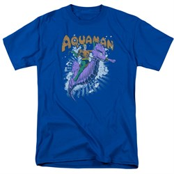 Image of Aquaman Shirt Ride Free Royal Blue T-Shirt