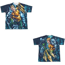 Image of Aquaman Shirt Trident Sublimation Youth Shirt Front/Back Print