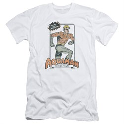 Image of Aquaman Slim Fit Shirt Action Figure White T-Shirt