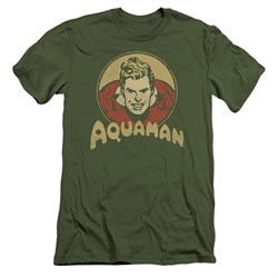 Image of Aquaman Slim Fit Shirt Aqua Circle Olive Green T-Shirt