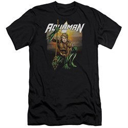 Image of Aquaman Slim Fit Shirt Beach Sunset Black T-Shirt