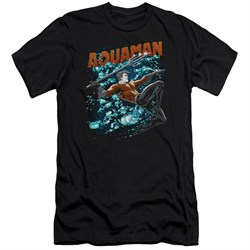 Image of Aquaman Slim Fit Shirt Bubbles Black T-Shirt