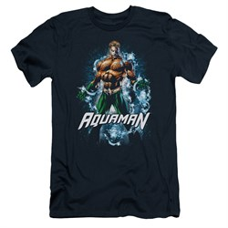 Image of Aquaman Slim Fit Shirt Water Powers Navy T-Shirt