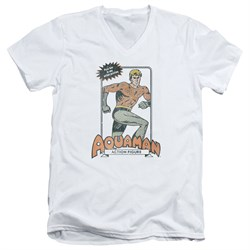 Aquaman Slim Fit V-Neck Shirt Action Figure White T-Shirt