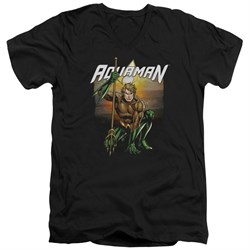 Image of Aquaman Slim Fit V-Neck Shirt Beach Sunset Black T-Shirt