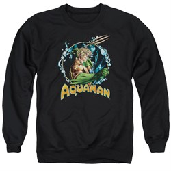 Image of Aquaman Sweatshirt Ruler Of The Seas Adult Black Sweat Shirt