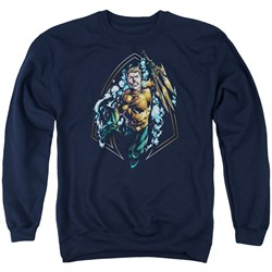 Image of Aquaman Sweatshirt Thrashing Adult Navy Sweat Shirt
