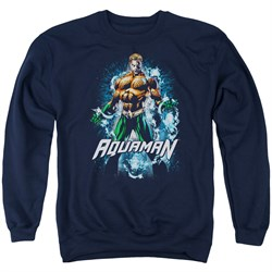 Image of Aquaman Sweatshirt Water Powers Adult Navy Sweat Shirt
