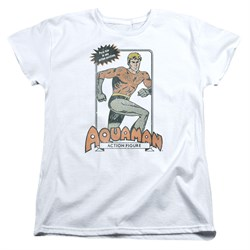 Aquaman Womens Shirt Action Figure White T-Shirt