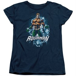 Image of Aquaman Womens Shirt Water Powers Navy T-Shirt