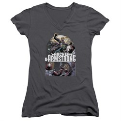 Image of Archer & Armstrong Juniors V Neck Shirt Dropping In Charcoal T-Shirt