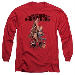 Image of Archer & Armstrong Long Sleeve Shirt Hang On Red Tee T-Shirt