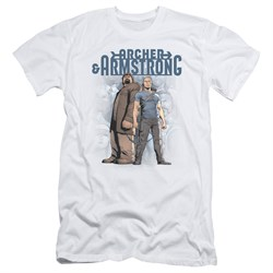 Image of Archer & Armstrong Slim Fit Shirt Stare Down White T-Shirt