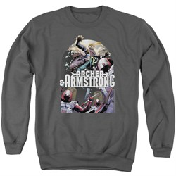 Image of Archer & Armstrong Sweatshirt Dropping In Adult Charcoal Sweat Shirt