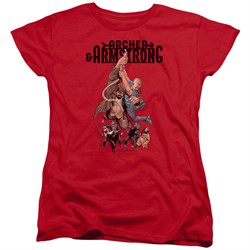 Image of Archer & Armstrong Womens Shirt Hang On Red T-Shirt