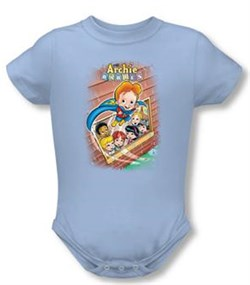 Image of Archie Baby Romper Rainy Day Light Blue Infant Babies Creeper