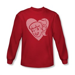 Image of Archie Shirt Betty Heart Long Sleeve Red Tee T-Shirt