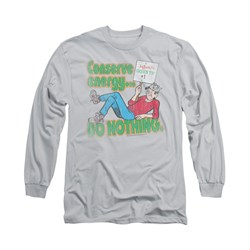 Image of Archie Shirt Conserve Energy Long Sleeve Silver Tee T-Shirt