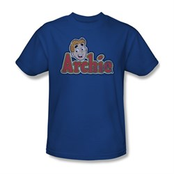 Image of Archie Shirt Distressed Logo Royal Blue T-Shirt