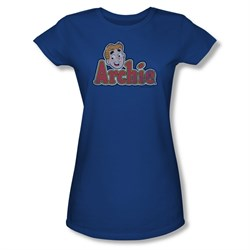 Image of Archie Shirt Juniors Distressed Logo Royal Blue T-Shirt