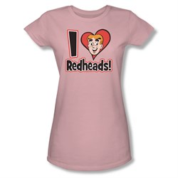 Image of Archie Shirt Juniors I Love Redheads Pink T-Shirt