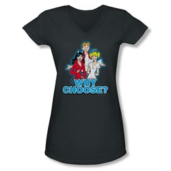 Image of Archie Shirt Juniors V Neck Why Choose Charcoal T-Shirt