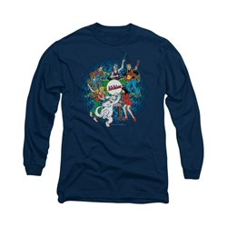 Image of Archie Shirt Psychedelic Long Sleeve Navy Tee T-Shirt