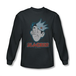 Image of Archie Shirt Slacker Long Sleeve Charcoal Tee T-Shirt