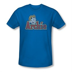 Image of Archie Shirt Slim Fit Distressed Logo Royal Blue T-Shirt