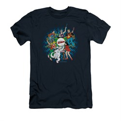 Image of Archie Shirt Slim Fit Psychedelic Navy T-Shirt