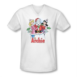 Image of Archie Shirt Slim Fit V-Neck Snowman Fall White T-Shirt