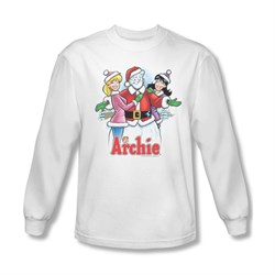 Image of Archie Shirt Snowman Fall Long Sleeve White Tee T-Shirt