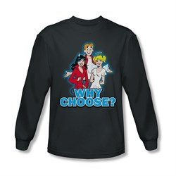 Image of Archie Shirt Why Choose Long Sleeve Charcoal Tee T-Shirt