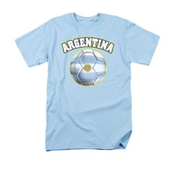 Image of Argentina Soccer Futbol Shirt Adult Light Blue Tee T-Shirt