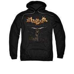 Image of Arkham Knight Hoodie Flaming Logo Black Sweatshirt Hoody