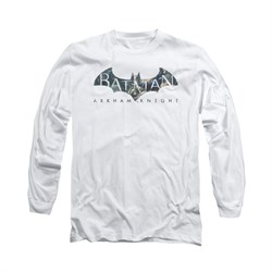 Image of Arkham Knight Shirt Descending Logo Long Sleeve White Tee T-Shirt