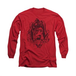 Image of Arkham Knight Shirt Harley Diamond Long Sleeve Red Tee T-Shirt