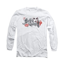Image of Arkham Knight Shirt Harley Lips Long Sleeve White Tee T-Shirt