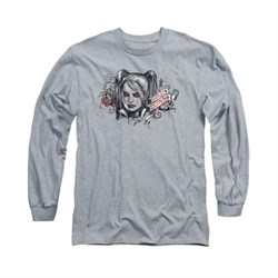 Image of Arkham Knight Shirt Harley RIP Long Sleeve Athletic Heather Tee T-Shirt