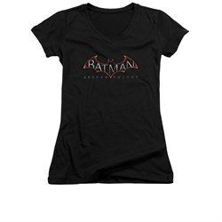 Image of Arkham Knight Shirt Juniors V Neck Logo Black T-Shirt