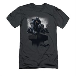Image of Arkham Knight Shirt Slim Fit Perched Charcoal T-Shirt