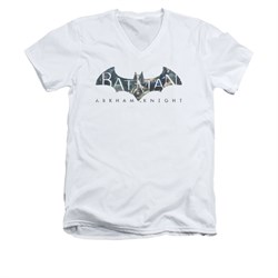 Image of Arkham Knight Shirt Slim Fit V-Neck Descending Logo White T-Shirt