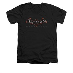 Image of Arkham Knight Shirt Slim Fit V-Neck Logo Black T-Shirt