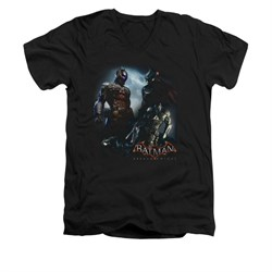 Image of Arkham Knight Shirt Slim Fit V-Neck Two Fighters Black T-Shirt